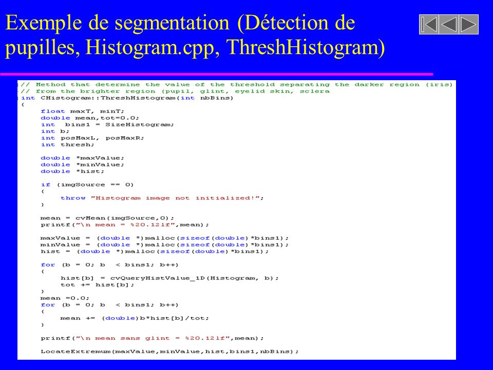 Exemple de segmentation (Détection de pupilles, Histogram