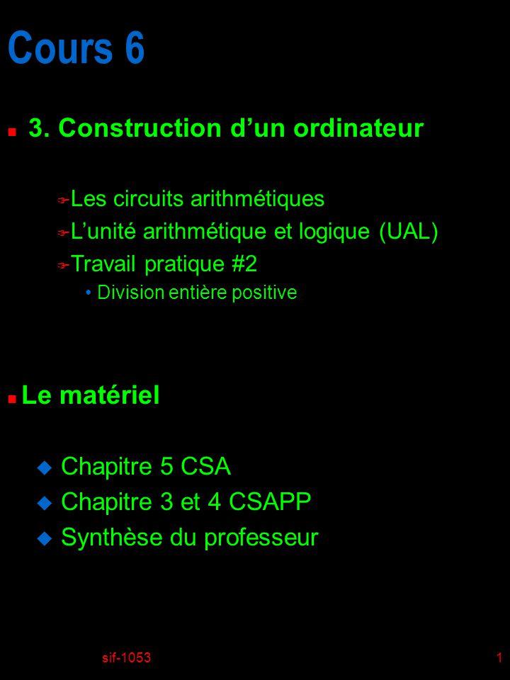 Cours 6 3. Construction d'un ordinateur Le matériel Chapitre 5 CSA