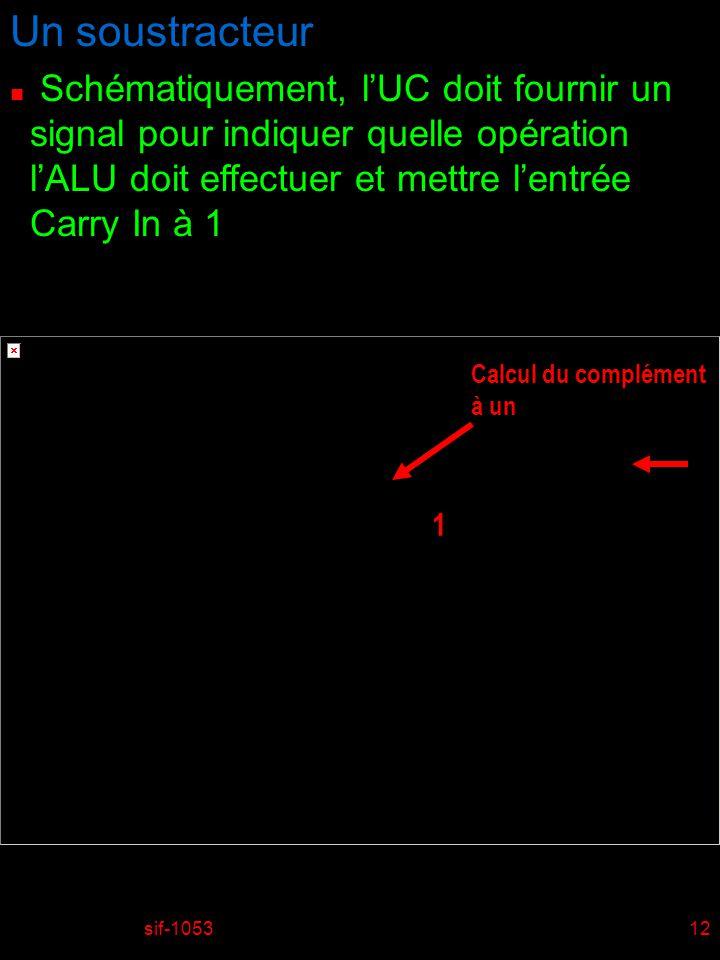 Un soustracteur Schématiquement, l'UC doit fournir un signal pour indiquer quelle opération l'ALU doit effectuer et mettre l'entrée Carry In à 1.