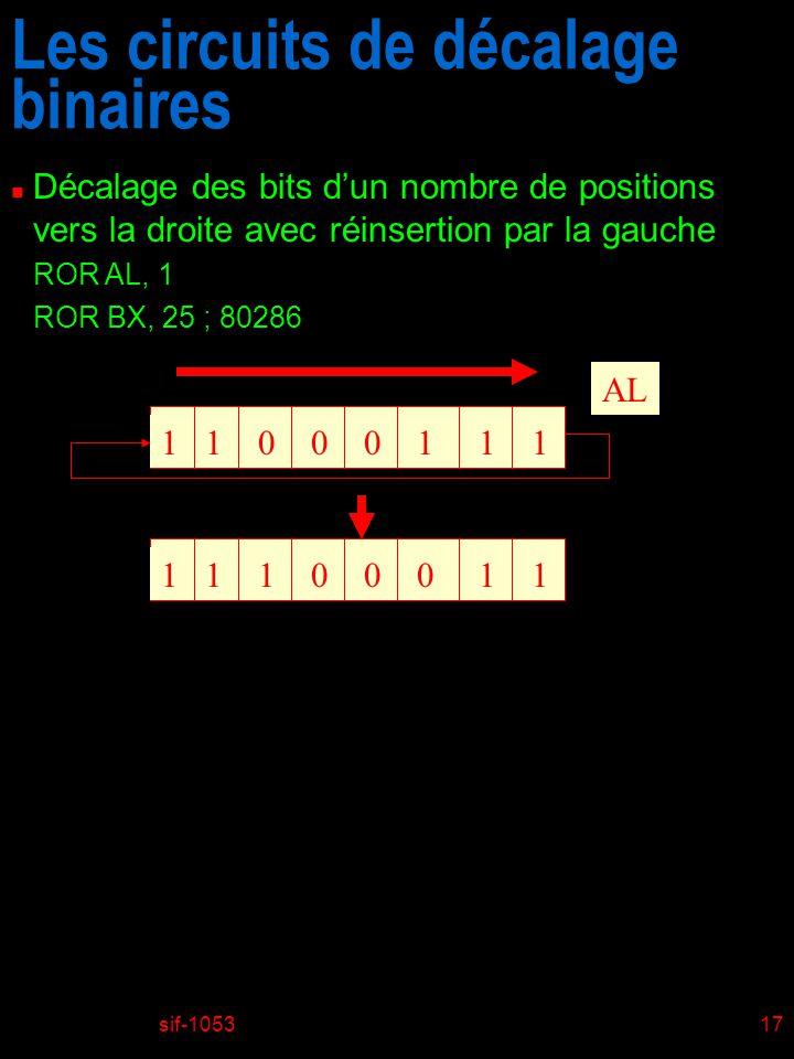 Les circuits de décalage binaires