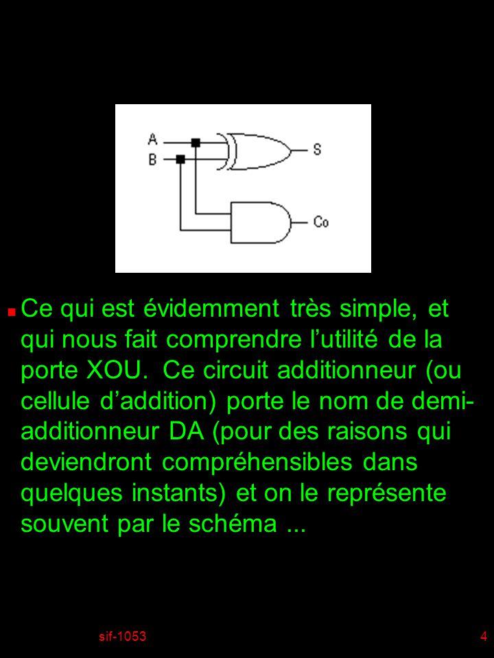 Ce qui est évidemment très simple, et qui nous fait comprendre l'utilité de la porte XOU. Ce circuit additionneur (ou cellule d'addition) porte le nom de demi-additionneur DA (pour des raisons qui deviendront compréhensibles dans quelques instants) et on le représente souvent par le schéma ...