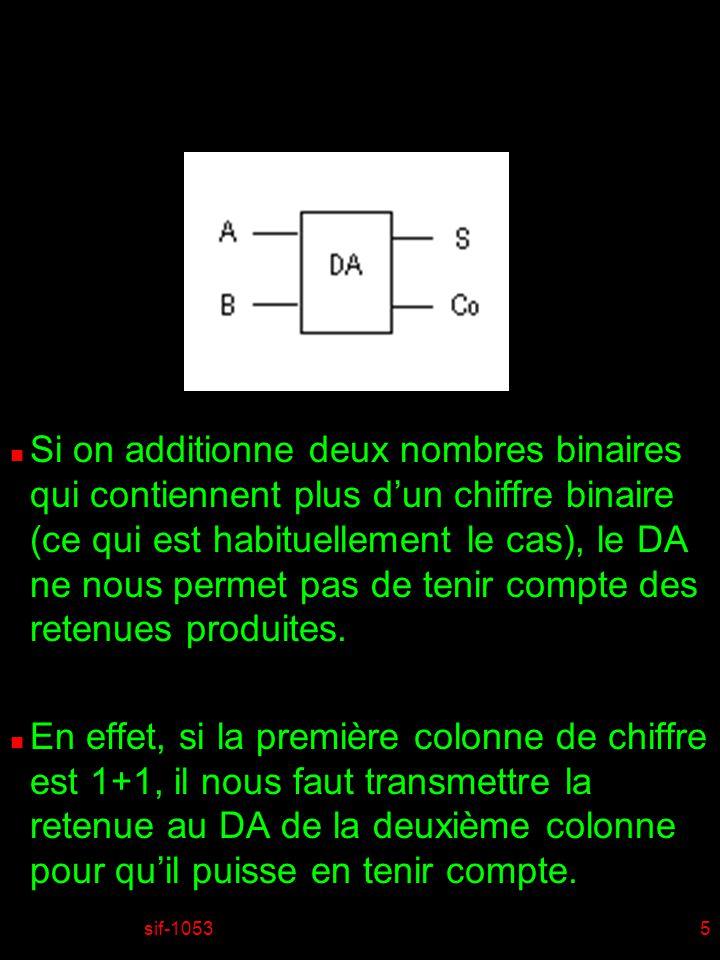 Si on additionne deux nombres binaires qui contiennent plus d'un chiffre binaire (ce qui est habituellement le cas), le DA ne nous permet pas de tenir compte des retenues produites.