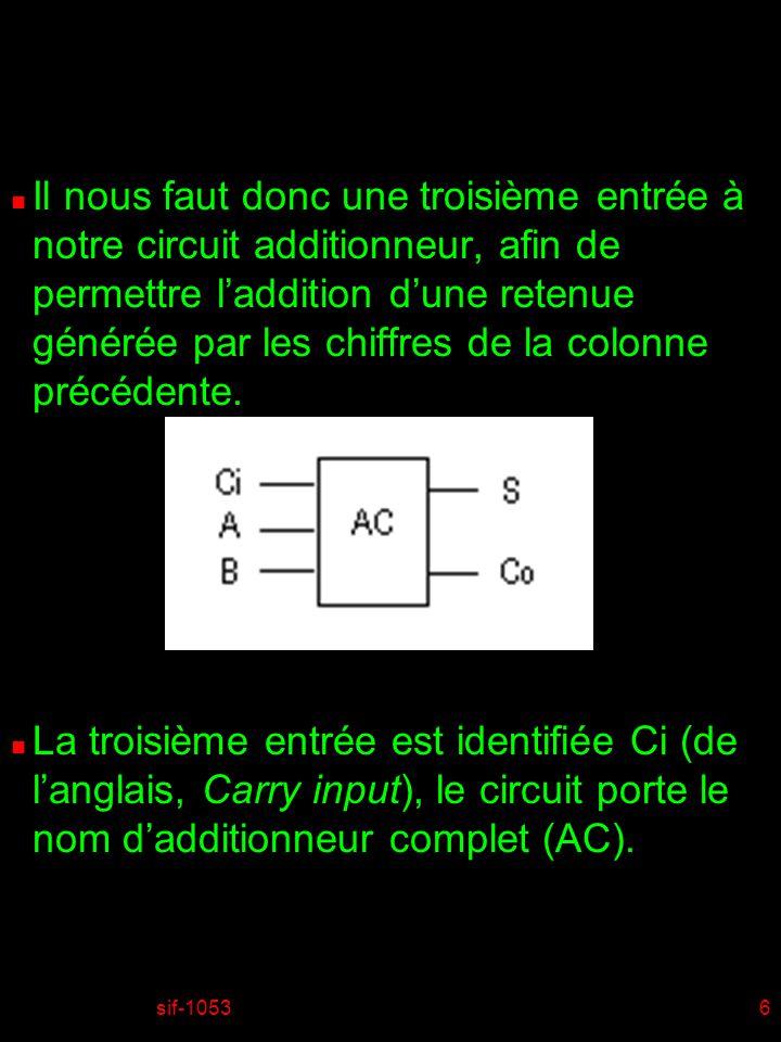Il nous faut donc une troisième entrée à notre circuit additionneur, afin de permettre l'addition d'une retenue générée par les chiffres de la colonne précédente.