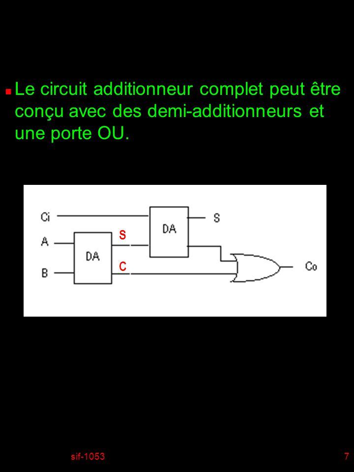 Le circuit additionneur complet peut être conçu avec des demi-additionneurs et une porte OU.