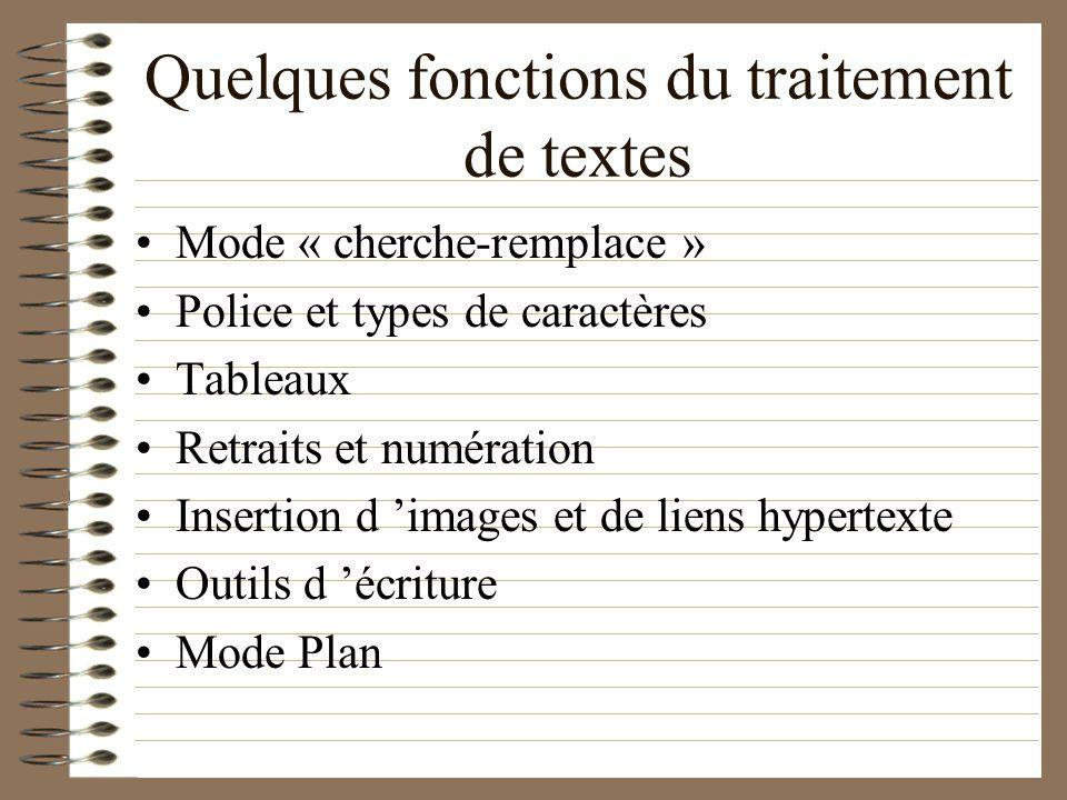 Quelques fonctions du traitement de textes