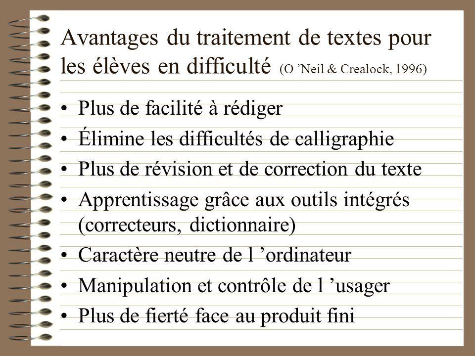 Avantages du traitement de textes pour les élèves en difficulté (O 'Neil & Crealock, 1996)