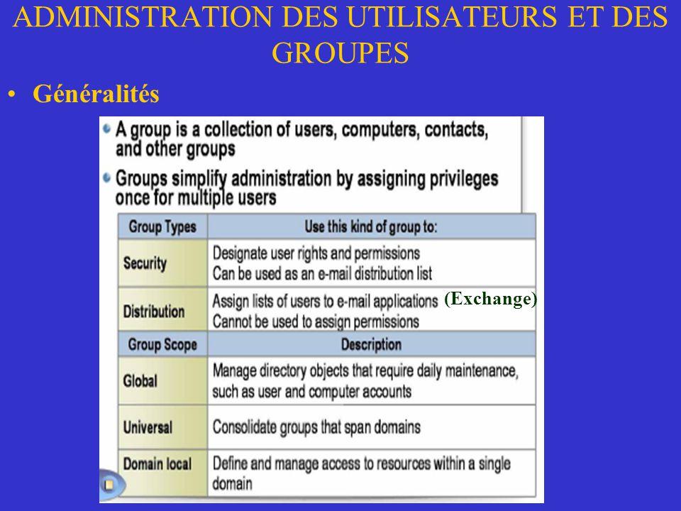 ADMINISTRATION DES UTILISATEURS ET DES GROUPES