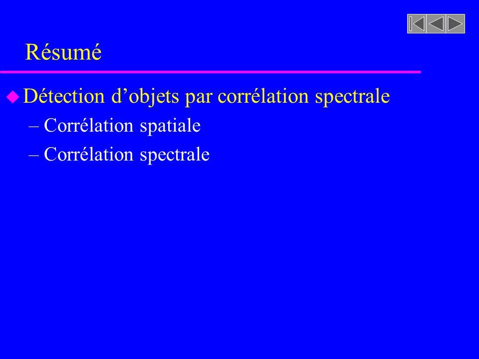 Résumé Détection d'objets par corrélation spectrale