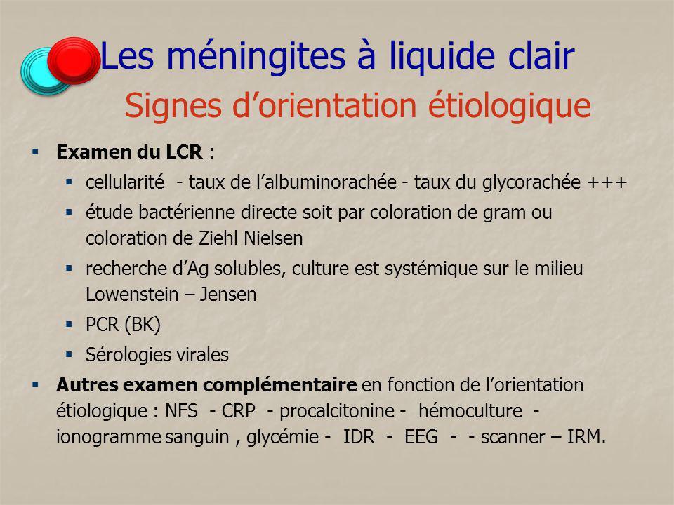 Les méningites à liquide clair Signes d'orientation étiologique