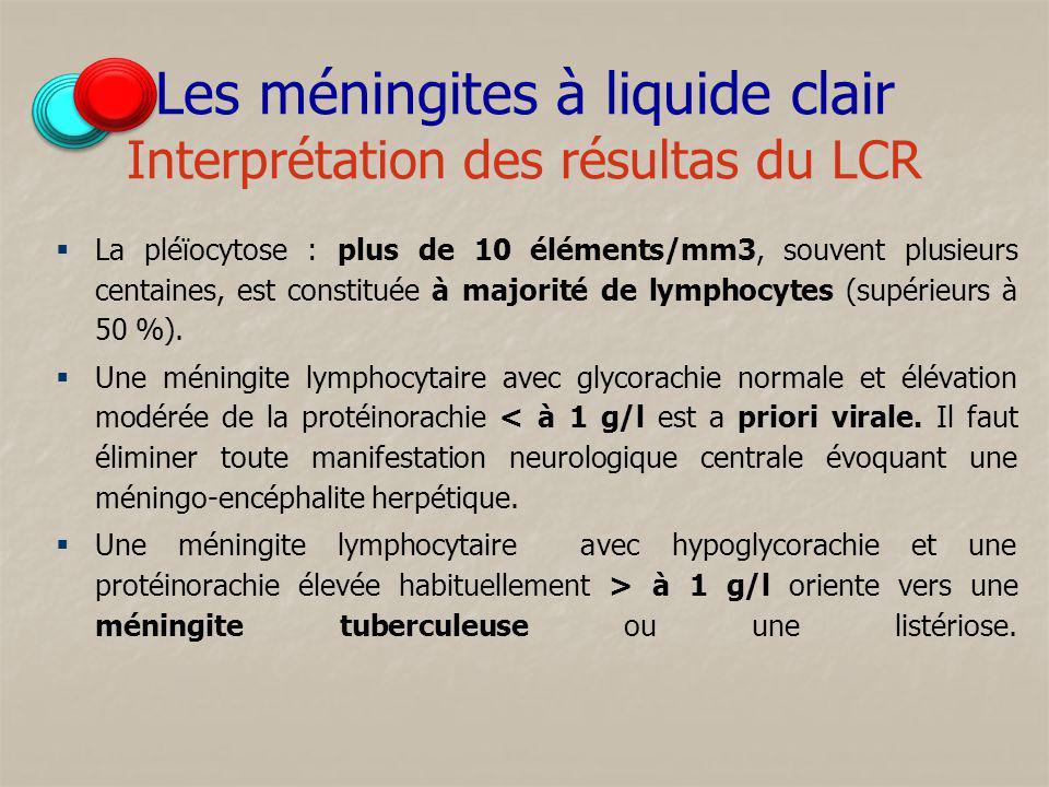 Les méningites à liquide clair Interprétation des résultas du LCR