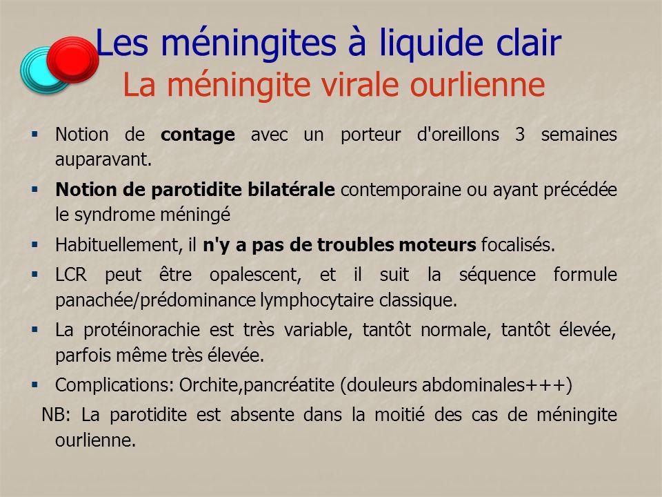 Les méningites à liquide clair La méningite virale ourlienne