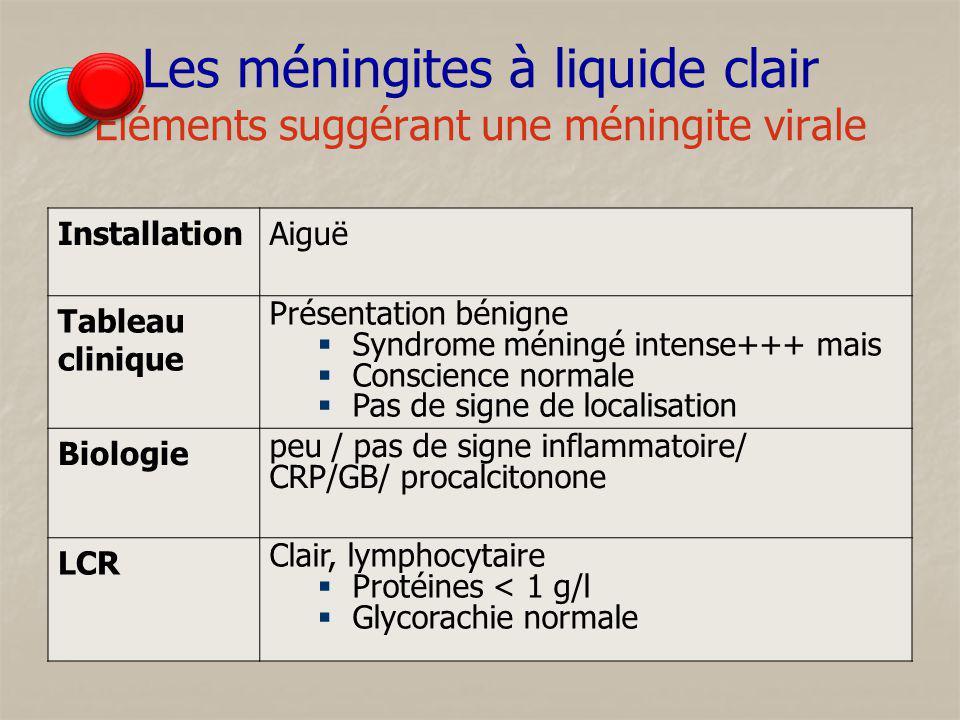 Les méningites à liquide clair Éléments suggérant une méningite virale