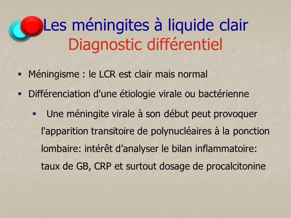 Les méningites à liquide clair Diagnostic différentiel