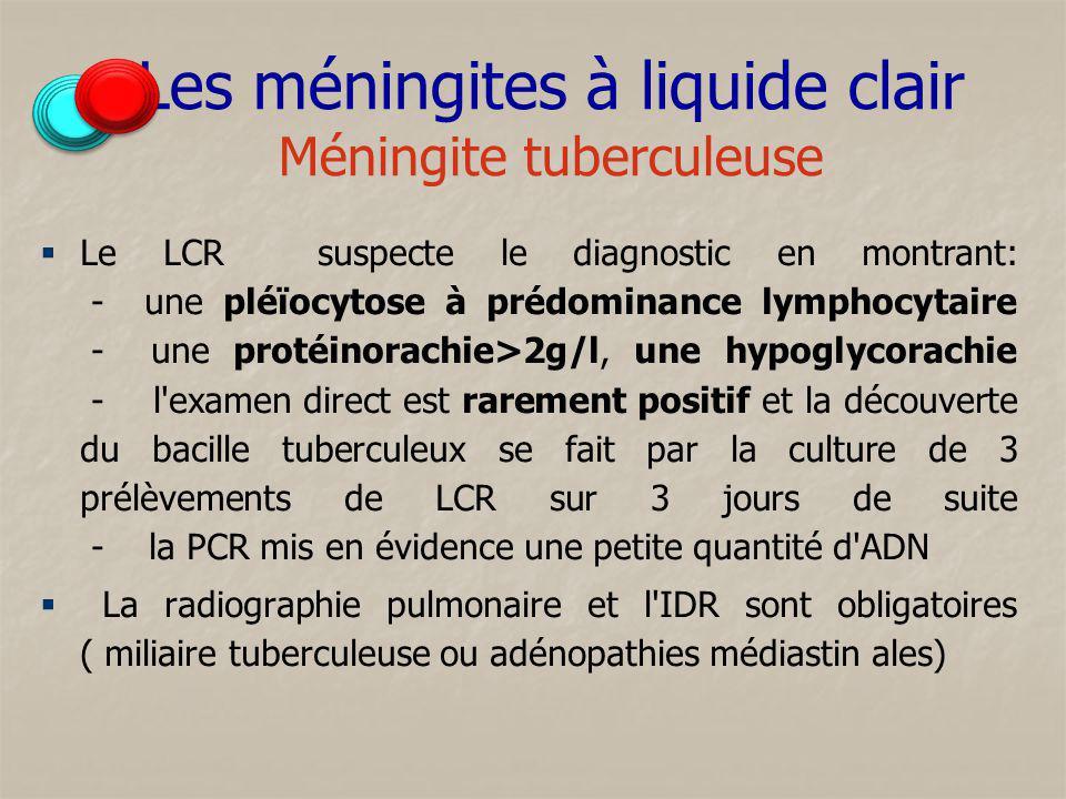 Les méningites à liquide clair Méningite tuberculeuse