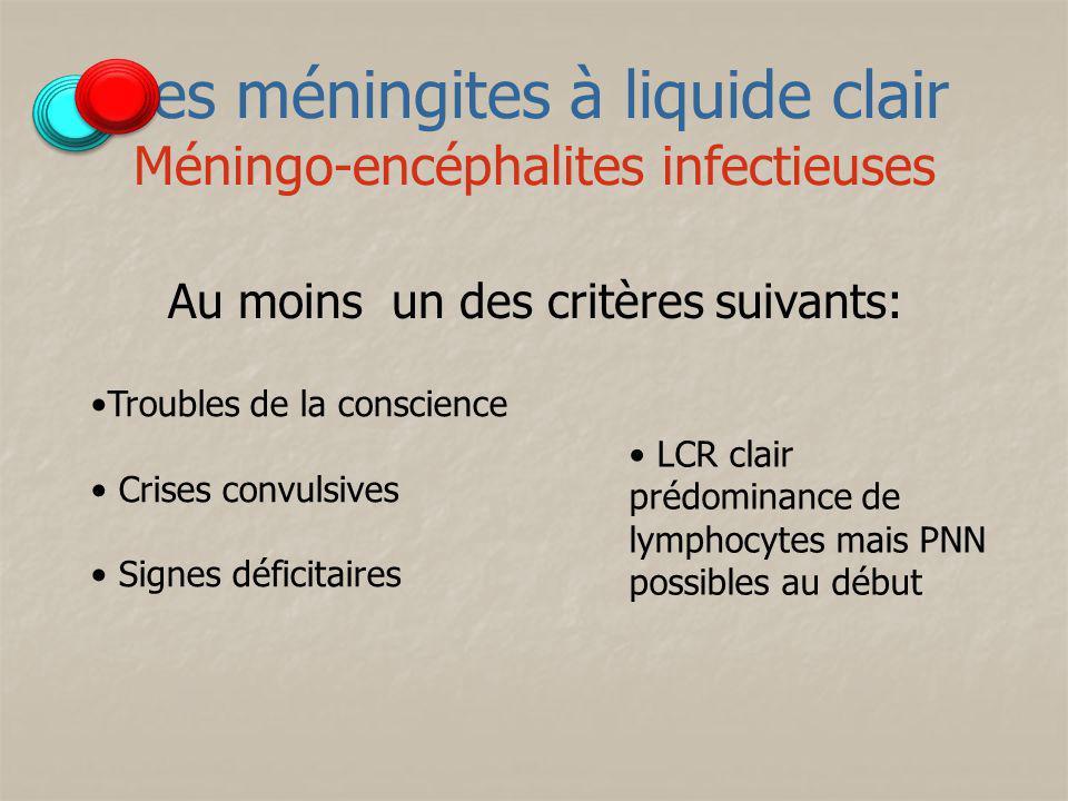 Les méningites à liquide clair Méningo-encéphalites infectieuses