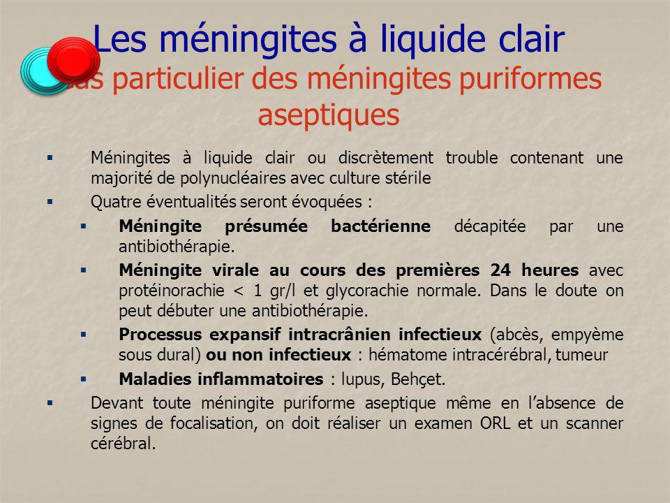 Les méningites à liquide clair Cas particulier des méningites puriformes aseptiques