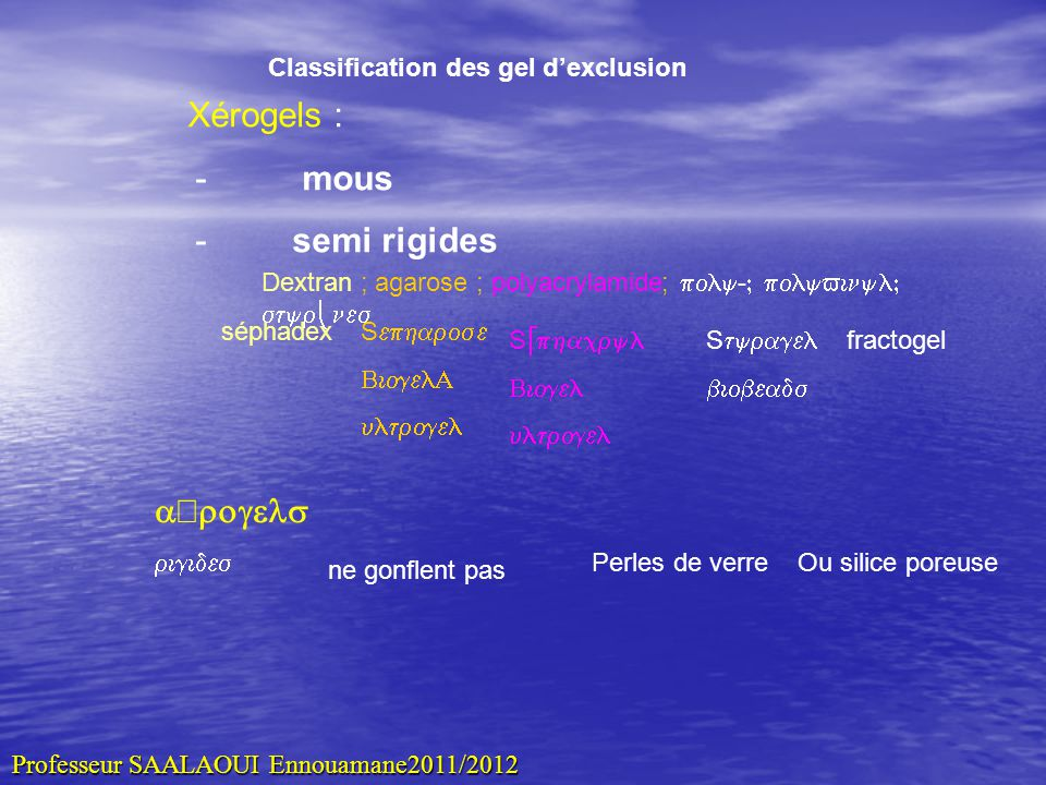 Classification des gel d'exclusion