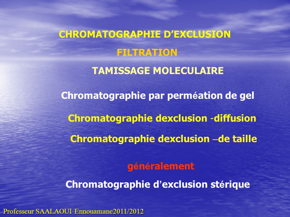 CHROMATOGRAPHIE D'EXCLUSION TAMISSAGE MOLECULAIRE