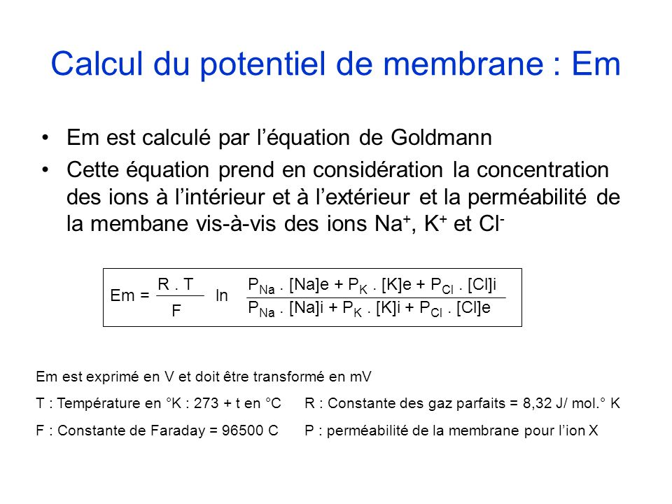 Calcul du potentiel de membrane : Em