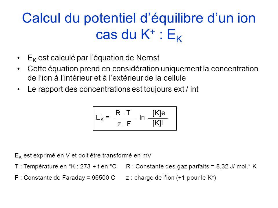 Calcul du potentiel d'équilibre d'un ion cas du K+ : EK