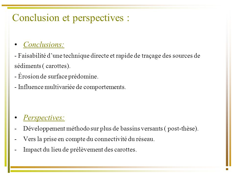 Conclusion et perspectives :