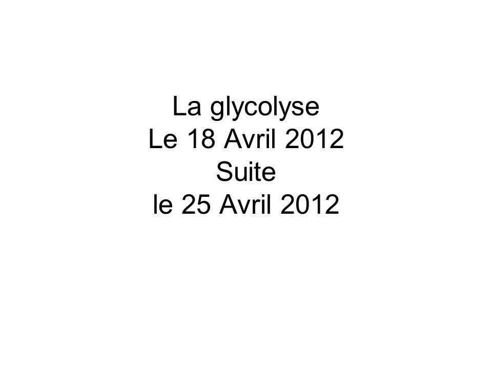 La glycolyse Le 18 Avril 2012 Suite le 25 Avril 2012