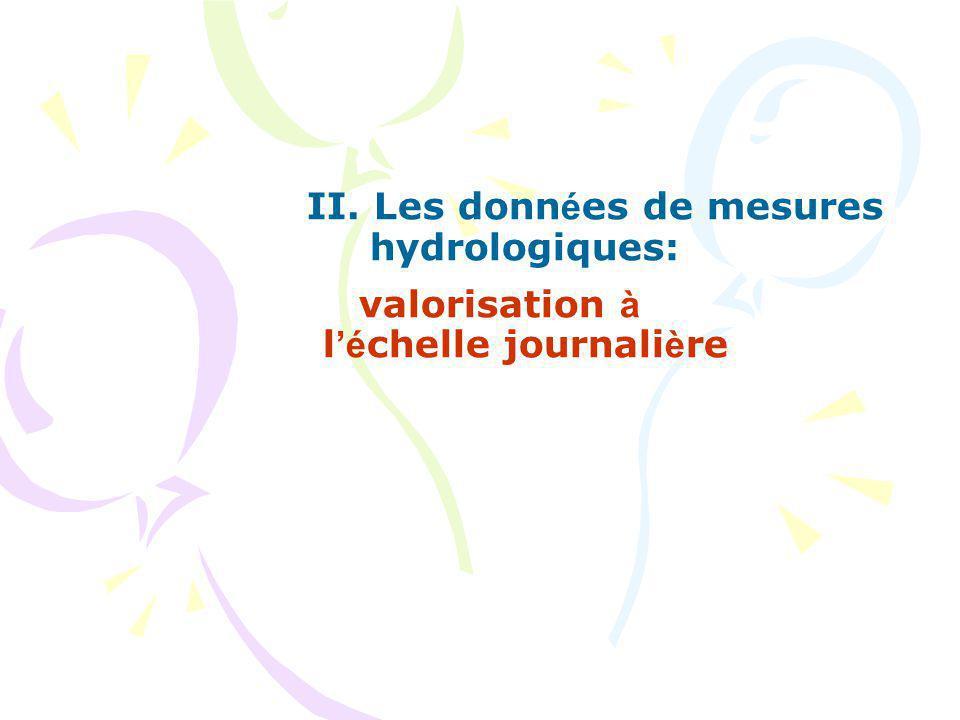 II. Les données de mesures hydrologiques:
