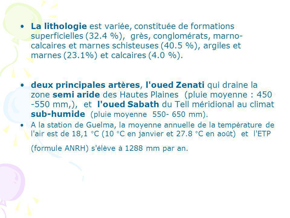 La lithologie est variée, constituée de formations superficielles (32