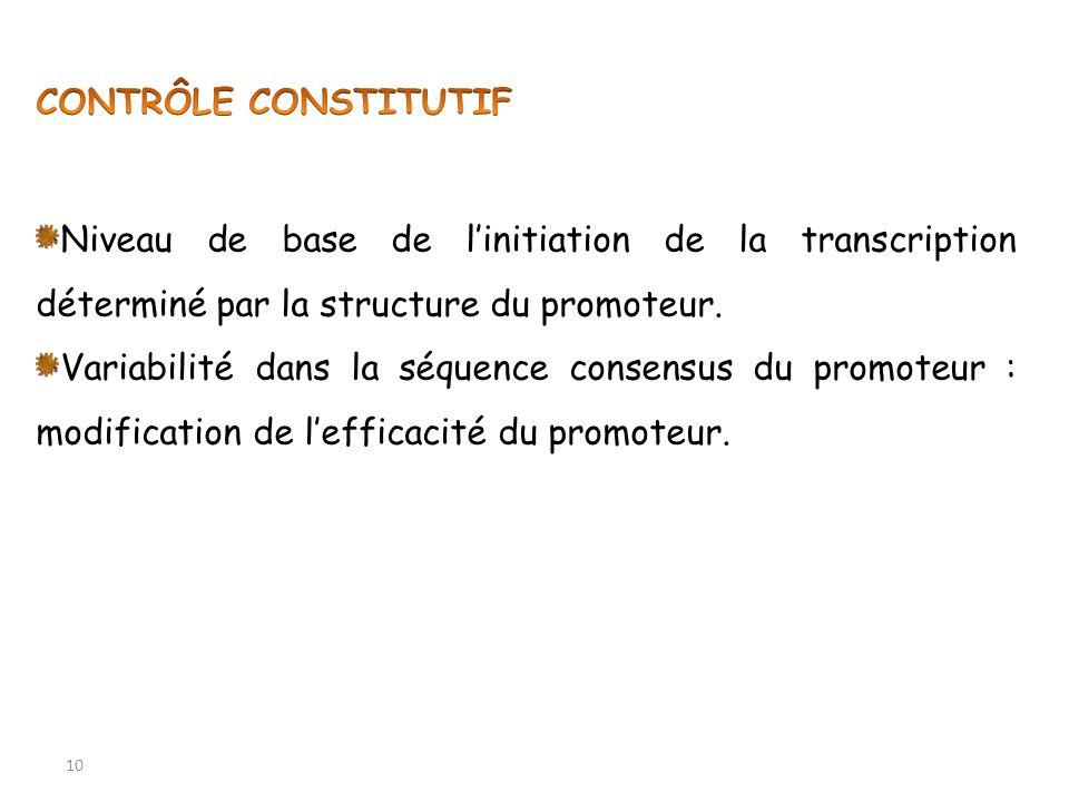 CONTRÔLE CONSTITUTIF Niveau de base de l'initiation de la transcription déterminé par la structure du promoteur.