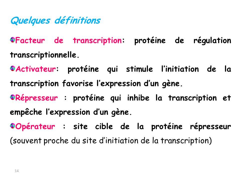 Quelques définitions Facteur de transcription: protéine de régulation transcriptionnelle.