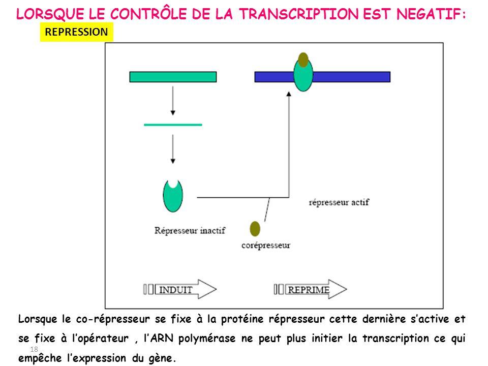 LORSQUE LE CONTRÔLE DE LA TRANSCRIPTION EST NEGATIF: