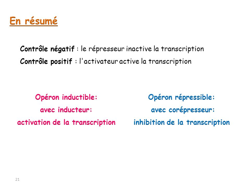 activation de la transcription inhibition de la transcription
