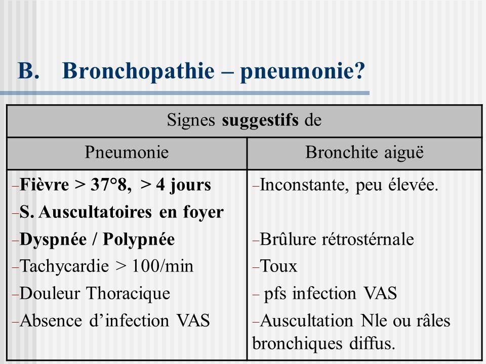 Bronchopathie – pneumonie