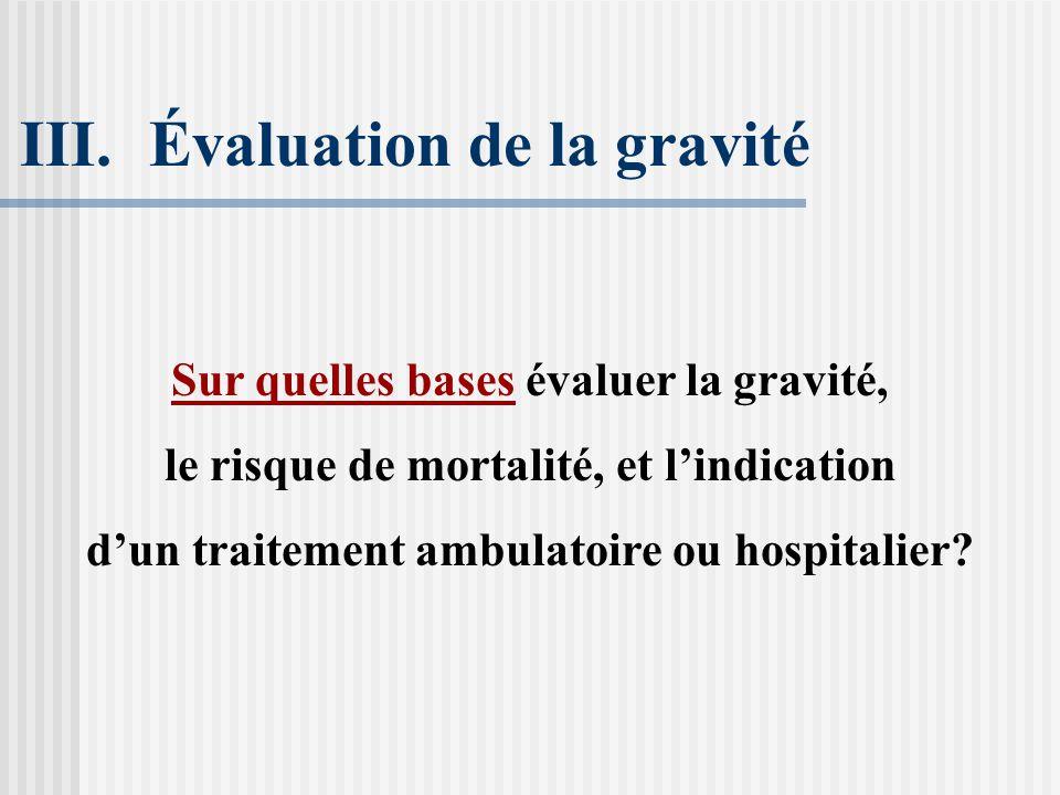 Évaluation de la gravité