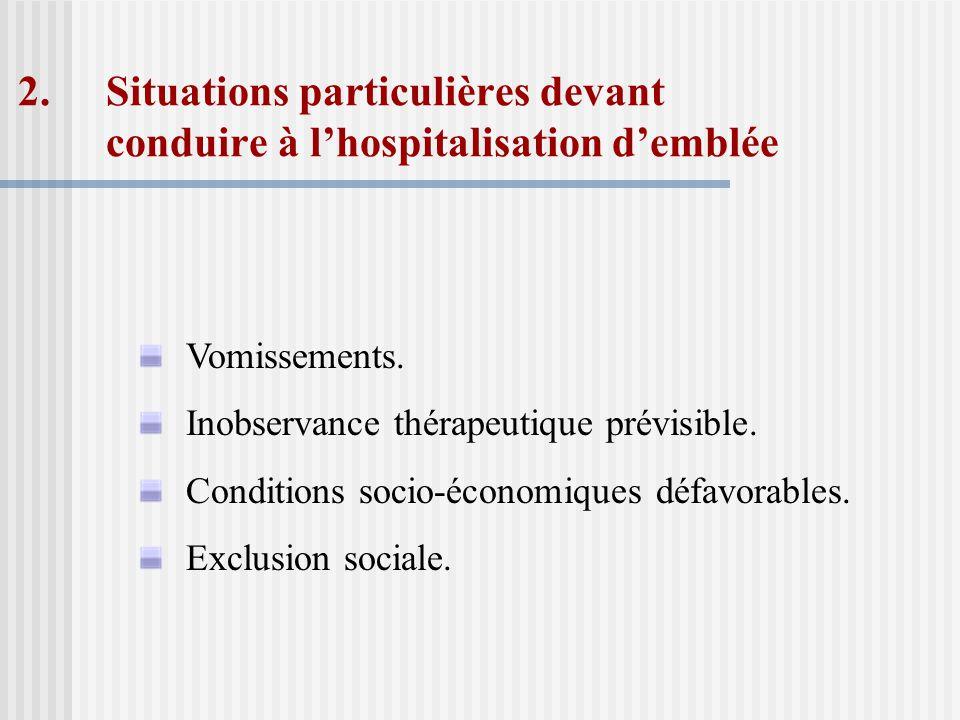 Situations particulières devant conduire à l'hospitalisation d'emblée