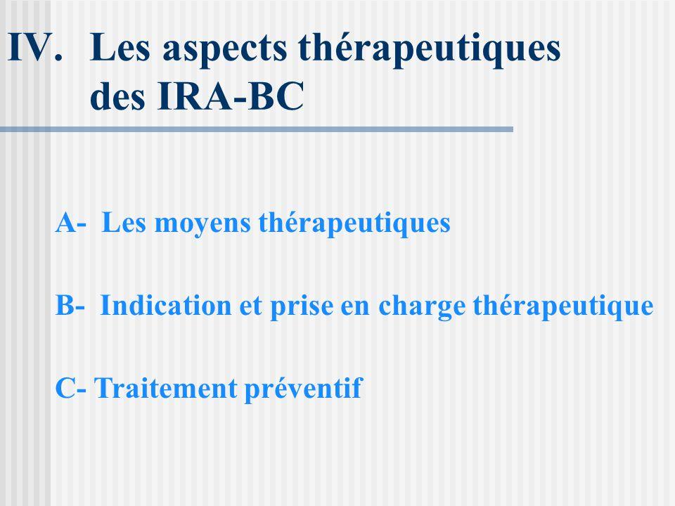 Les aspects thérapeutiques des IRA-BC