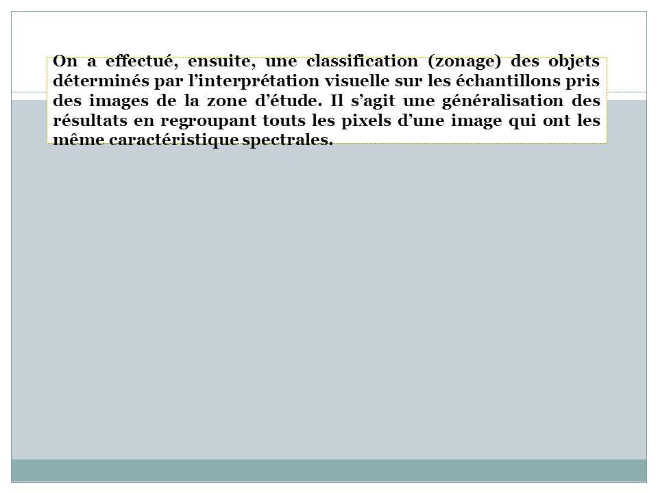 On a effectué, ensuite, une classification (zonage) des objets déterminés par l'interprétation visuelle sur les échantillons pris des images de la zone d'étude.