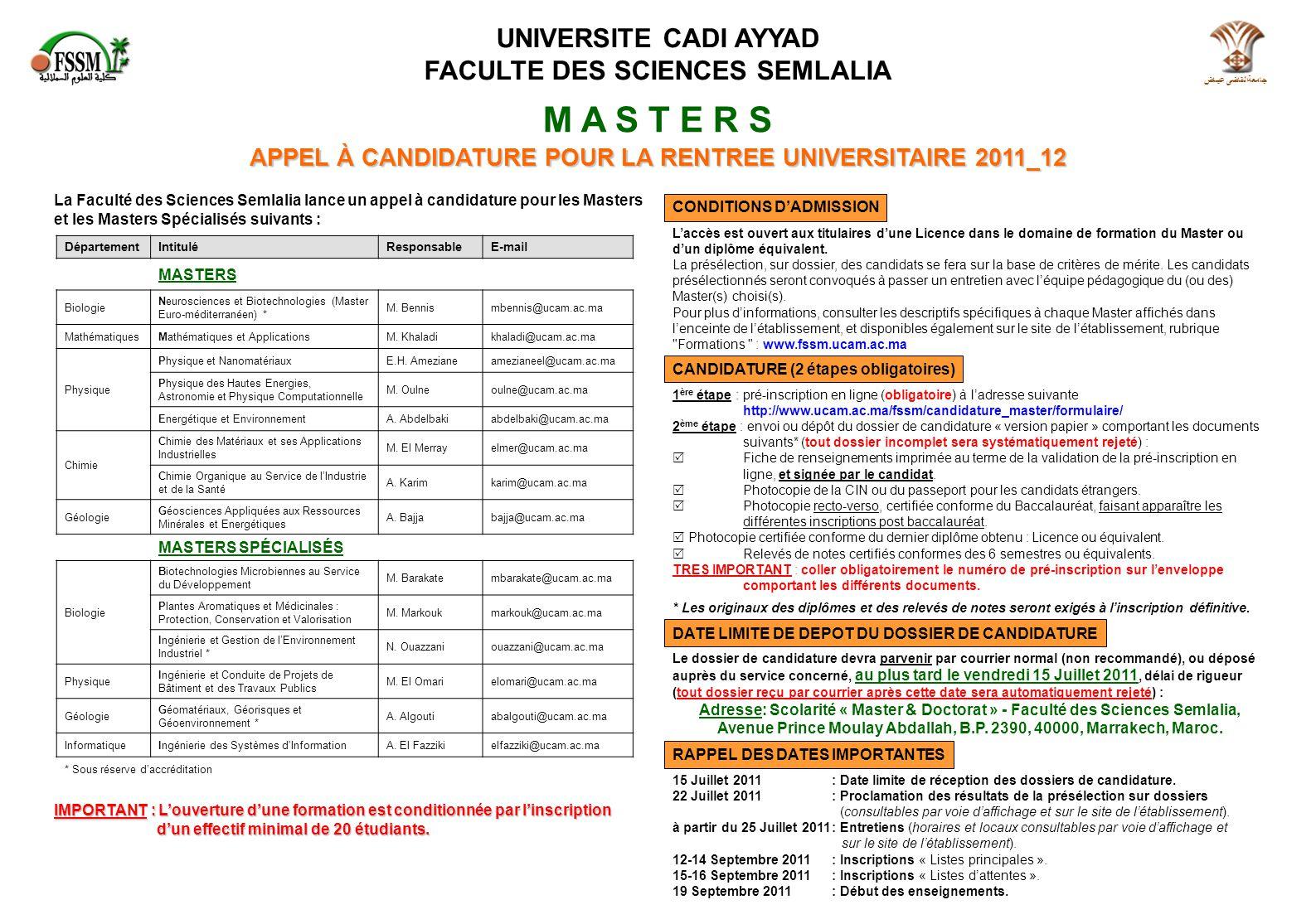 M A S T E R S UNIVERSITE CADI AYYAD FACULTE DES SCIENCES SEMLALIA