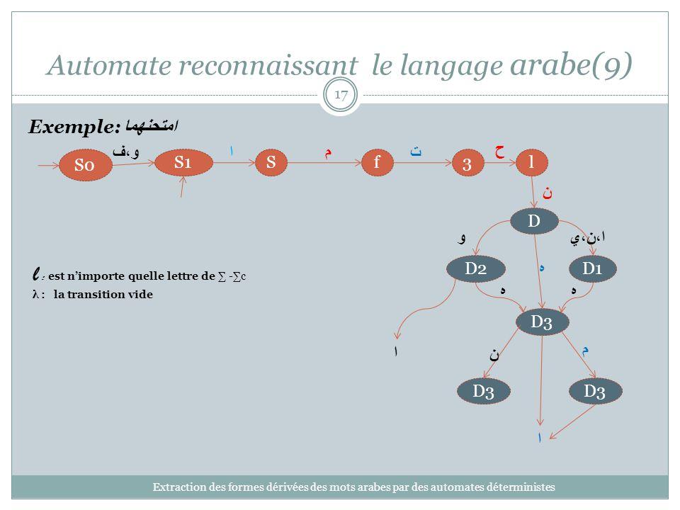 Automate reconnaissant le langage arabe(9)