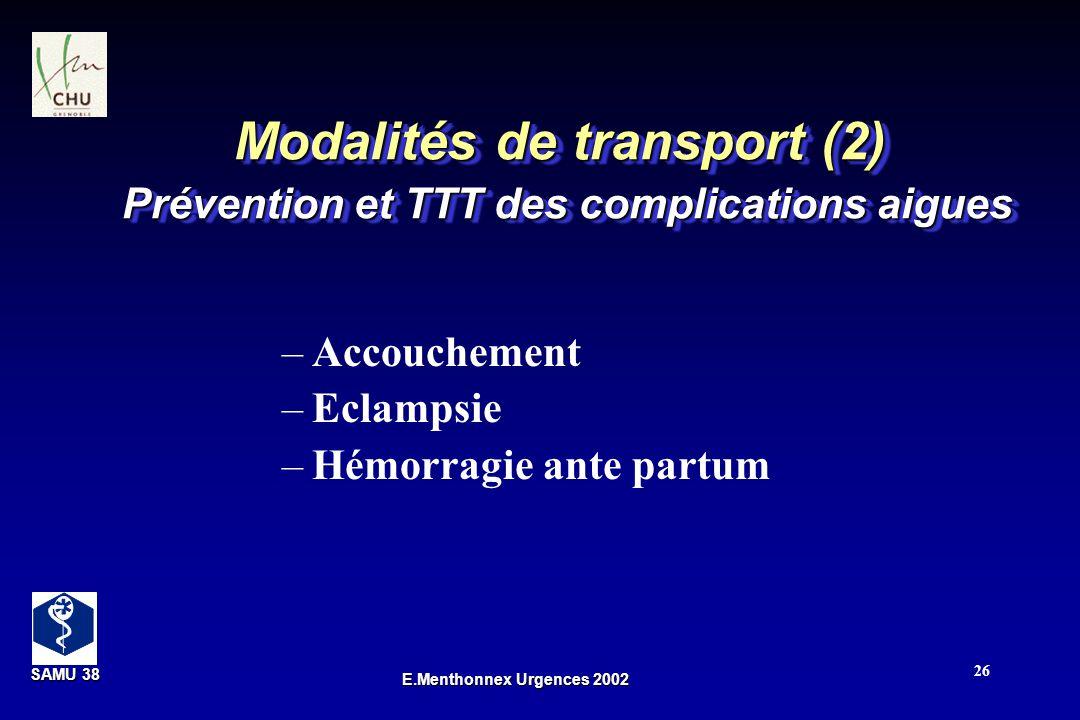 Modalités de transport (2) Prévention et TTT des complications aigues