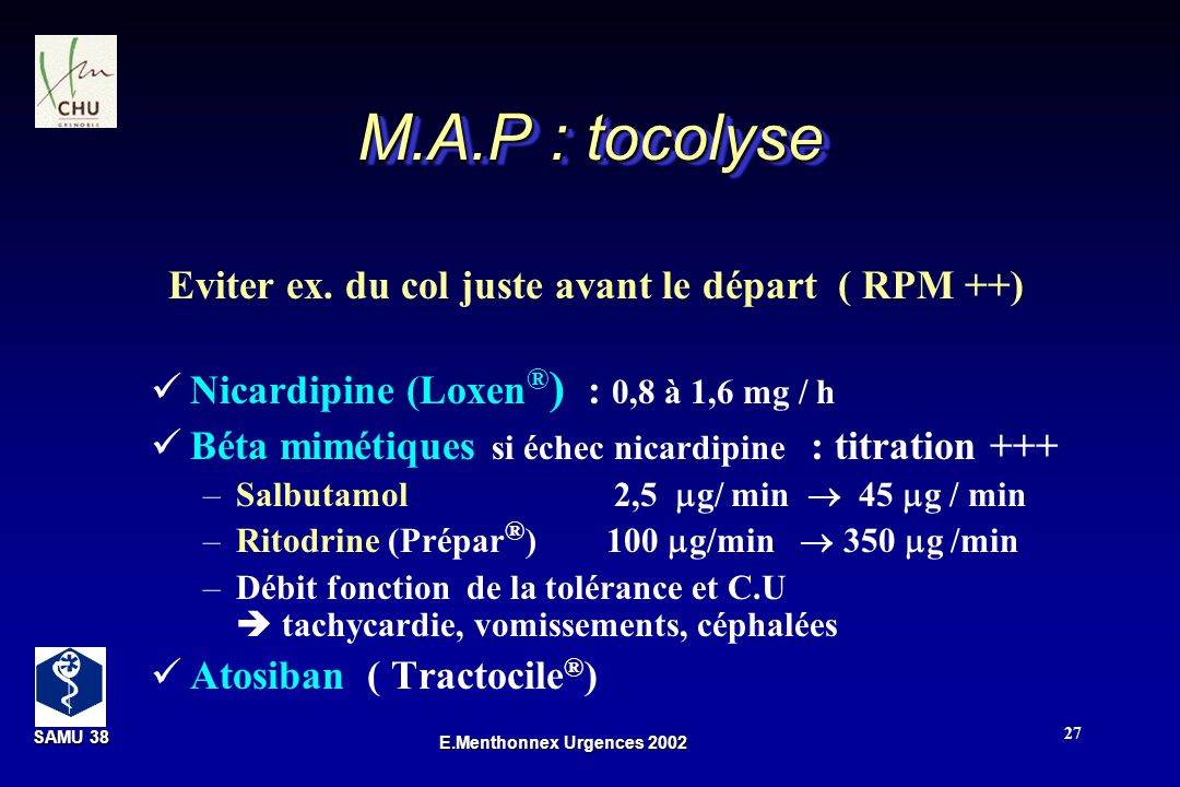 M.A.P : tocolyse Eviter ex. du col juste avant le départ ( RPM ++)