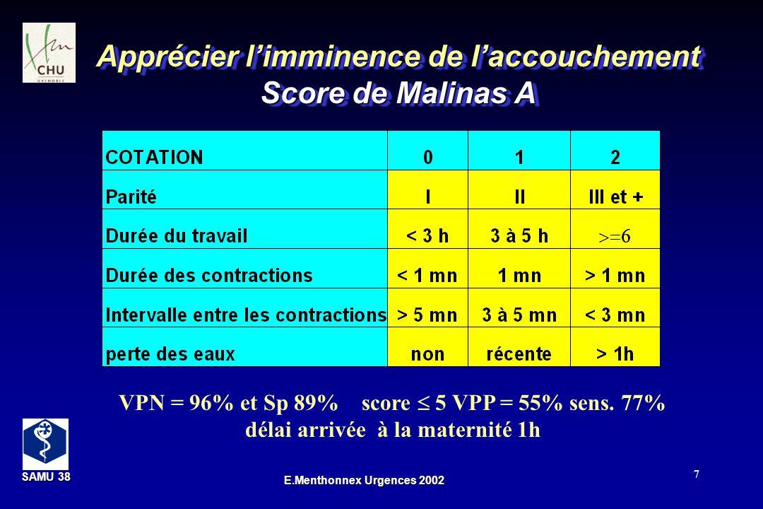 Apprécier l'imminence de l'accouchement Score de Malinas A