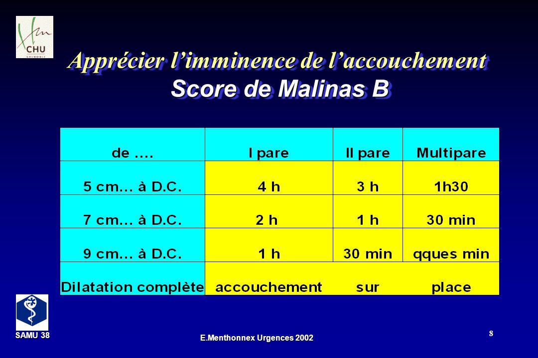 Apprécier l'imminence de l'accouchement Score de Malinas B