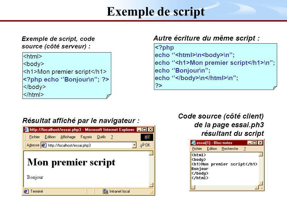 Exemple de script Autre écriture du même script :