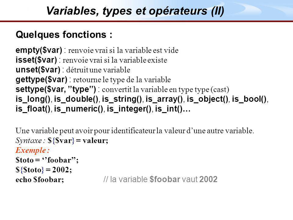 Variables, types et opérateurs (II)