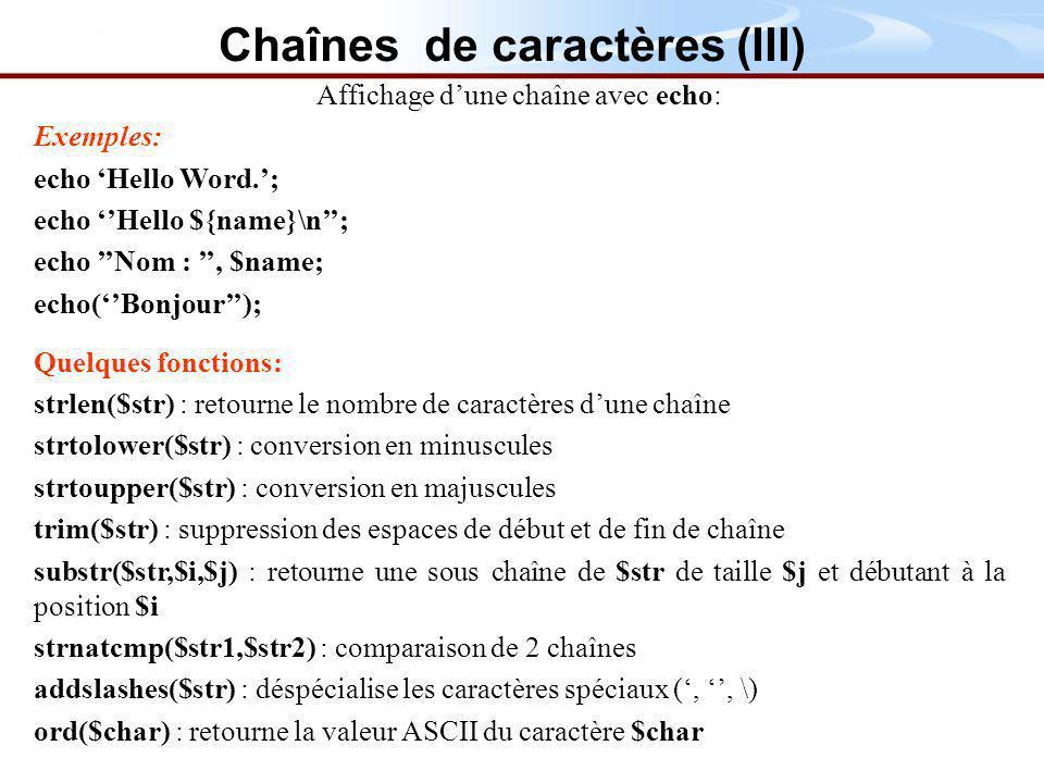 Chaînes de caractères (III)
