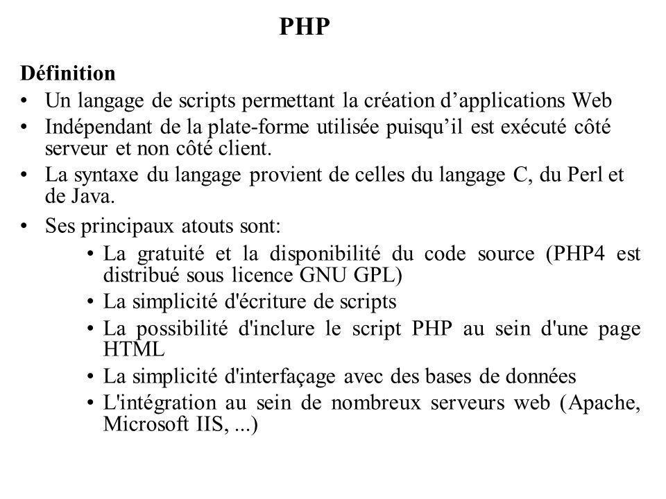 PHP Définition. Un langage de scripts permettant la création d'applications Web.