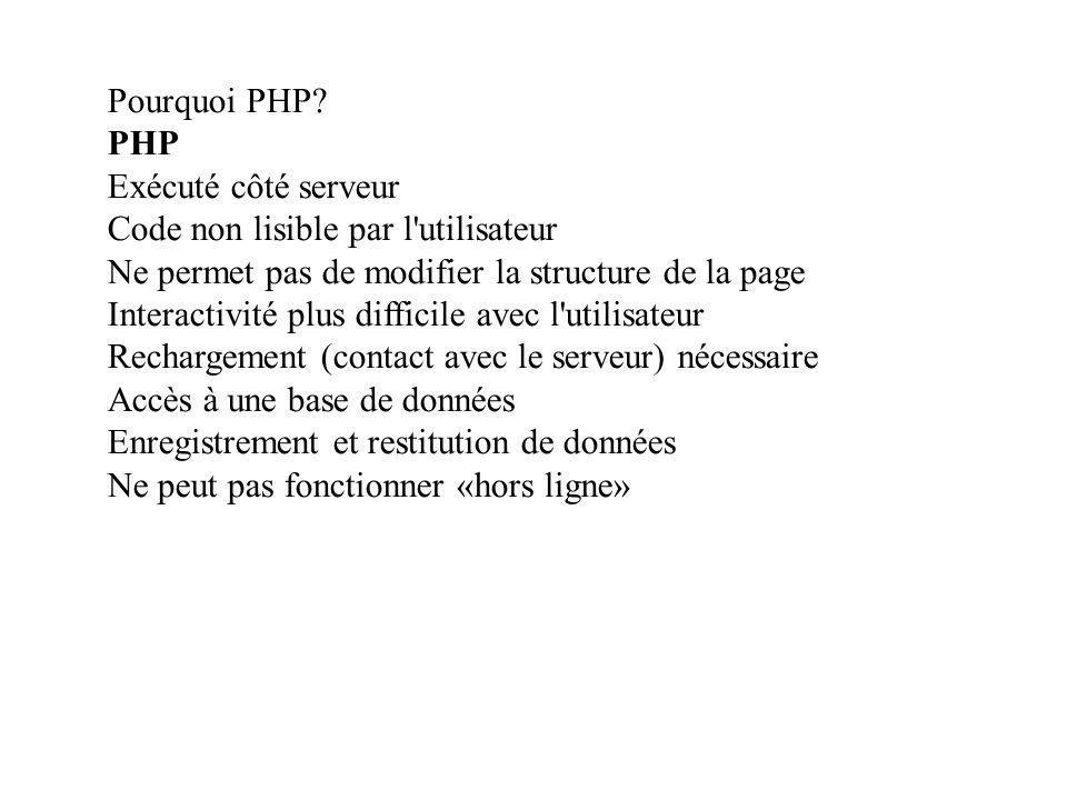 Pourquoi PHP PHP. Exécuté côté serveur. Code non lisible par l utilisateur. Ne permet pas de modifier la structure de la page.