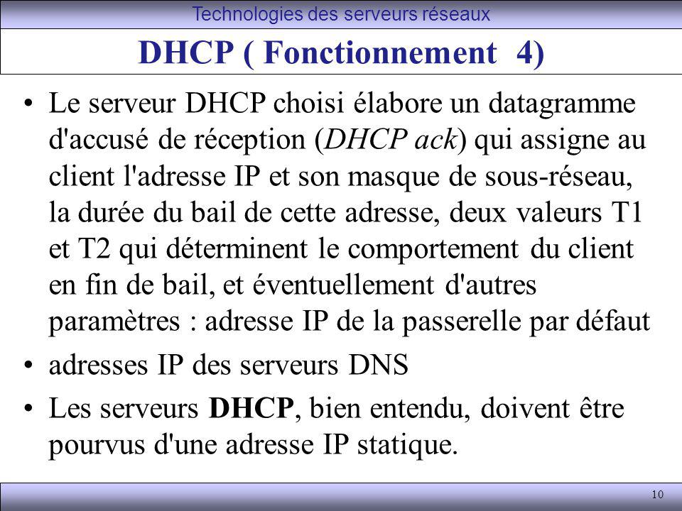 DHCP ( Fonctionnement 4)