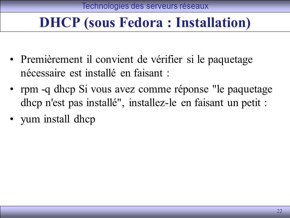 DHCP (sous Fedora : Installation)
